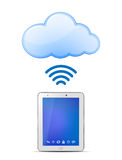 Tablet PC and Cloud computing. Wireless cloud computing concept. Vector Illustration Stock Photo