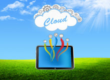 Tablet pc cloud on the green field Royalty Free Stock Photos