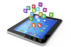 Tablet PC with cloud of icon applications Stock Photos