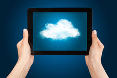 Tablet PC with cloud. Stock Images
