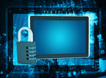 Tablet PC and code lock on abstract background. The concept of electronic security Stock Photos