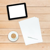 Tablet PC coffee and paper Stock Photos