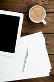 Tablet PC coffee and paper Stock Photography
