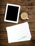 Tablet PC coffee and paper Royalty Free Stock Photo