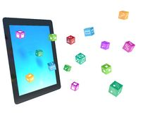 Tablet pc with color application icons Stock Images