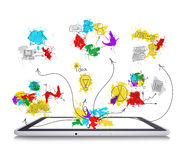 Tablet pc with colored business sketches Stock Photography