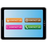 Tablet pc with colorful contact icons Royalty Free Stock Photography