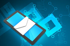 Tablet pc com email Fotografia de Stock Royalty Free