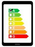 Tablet pc com etiqueta do uso da energia ilustração do vetor