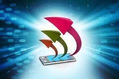 Tablet pc com seta Imagem de Stock