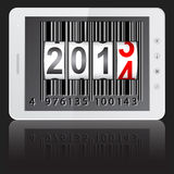 Tablet PC computer with 2014 New Year. White tablet PC computer with 2014 New Year counter, barcode  on black background. Vector  illustration Stock Photography