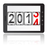 Tablet PC computer with 2014 New Year. Counter on white background. Vector illustration stock illustration