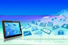 Tablet PC Computer with Application Icons Royalty Free Stock Images