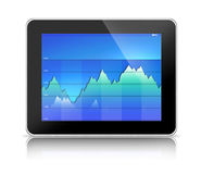 Tablet PC Computer with Blue Graph. Tablet PC showing blue business graph (generic tablet pc and graph hand drawn by photographer Royalty Free Stock Images