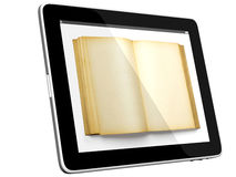 Tablet PC Computer and book. Book and iPad tablet computer 3D model isolated on white, digital library concept, Objects with Clipping Paths Stock Photos