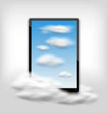 Tablet PC Computer with Clouds and Blue Sky Royalty Free Stock Images