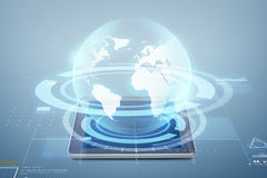 Tablet pc computer with globe projection. Electronics, technology, network and modern gadget concept - tablet pc computer with globe virtual projection above Stock Image