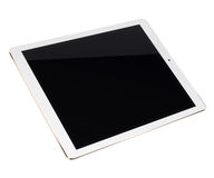 Tablet pc computer isolated on white background. Realistic tablet pc computer with black screen isolated on white background. 3D illustration Royalty Free Stock Image