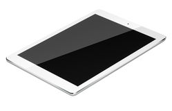 Tablet pc computer isolated on white background. Realistic tablet pc computer with black screen isolated on white background. 3D illustration Stock Image