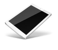 Tablet pc computer isolated on white background. Realistic tablet pc computer with black screen and shadows isolated on white background. 3D illustration Stock Images