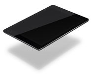 Tablet pc computer isolated on white background. Realistic tablet pc computer with black screen and shadows isolated on white background. 3D illustration Royalty Free Stock Images