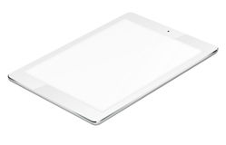 Tablet pc computer isolated on white background. Realistic tablet pc computer with blank screen isolated on white background. 3D illustration Royalty Free Stock Photography