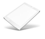 Tablet pc computer isolated on white background. Realistic tablet pc computer with blank screen and shadows isolated on white background. 3D illustration Royalty Free Stock Photo