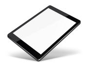 Tablet pc computer isolated on white background. Realistic tablet pc computer with blank screen and shadows isolated on white background. 3D illustration Stock Photos