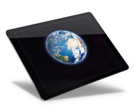 Tablet pc computer isolated on white background. Realistic tablet pc computer with Earth from space on screen isolated on white background. 3D illustration Royalty Free Stock Photos