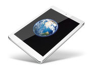 Tablet pc computer isolated on white background. Realistic tablet pc computer with Earth from space on screen isolated on white background. 3D illustration Stock Images