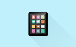 Tablet pc computer with menu icons on screen Royalty Free Stock Image