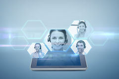 Tablet pc computer with video chat projection Royalty Free Stock Images