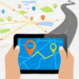 Tablet PC con el mapa de ubicación detallado Fotografía de archivo libre de regalías