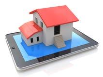 Tablet PC con el modelo simple de la casa en la exhibición - ejemplo 3d ilustración del vector