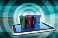 Tablet PC con la carpeta de archivos Fotografía de archivo libre de regalías