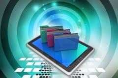 Tablet PC con la carpeta de archivos Imagen de archivo libre de regalías