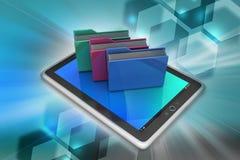 Tablet PC con la carpeta de archivos Imagenes de archivo