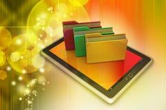 Tablet PC con la carpeta de archivos Foto de archivo