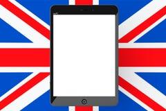 Tablet PC con la pantalla en blanco delante de Reino Unido de grande stock de ilustración