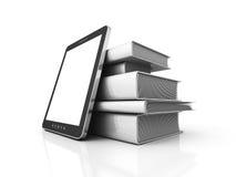 Tablet PC con la pila de libros blancos en blanco stock de ilustración