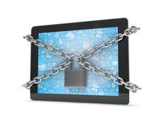 Tablet PC con las cadenas y la cerradura ilustración del vector