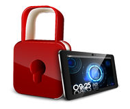 Tablet PC concept of privacy and safety that scans a fingerprint and a padlock. Illustration of Tablet PC concept of privacy and safety that scans a fingerprint Royalty Free Stock Images