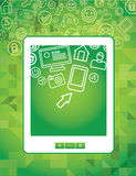 Tablet pc concept with social media icons Stock Photography