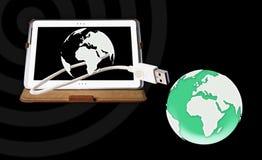 Tablet-PC conect die Welt Stockbilder