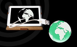 Tablet pc conect the world. Tablet pc on white background Stock Images