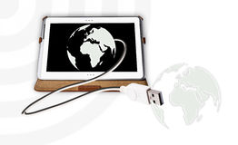 Tablet pc connected the world Stock Images