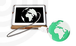 Tablet pc connected the world. On white background Royalty Free Stock Image