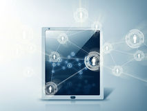 Tablet pc with contact icons Stock Photo