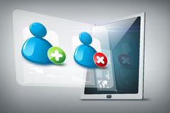 Tablet pc with contact icons Stock Photography