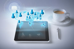 Tablet pc with contact icons Royalty Free Stock Photography